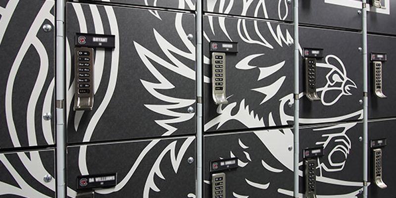 Wilsonart custom designed laminate for the USC locker room | Photo via Wilsonart