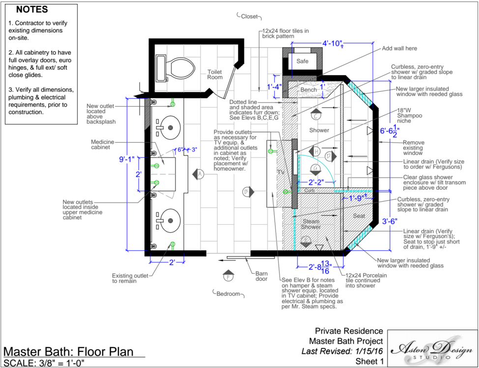 Master bath: Floor plan | Interior Designer: Carla Aston