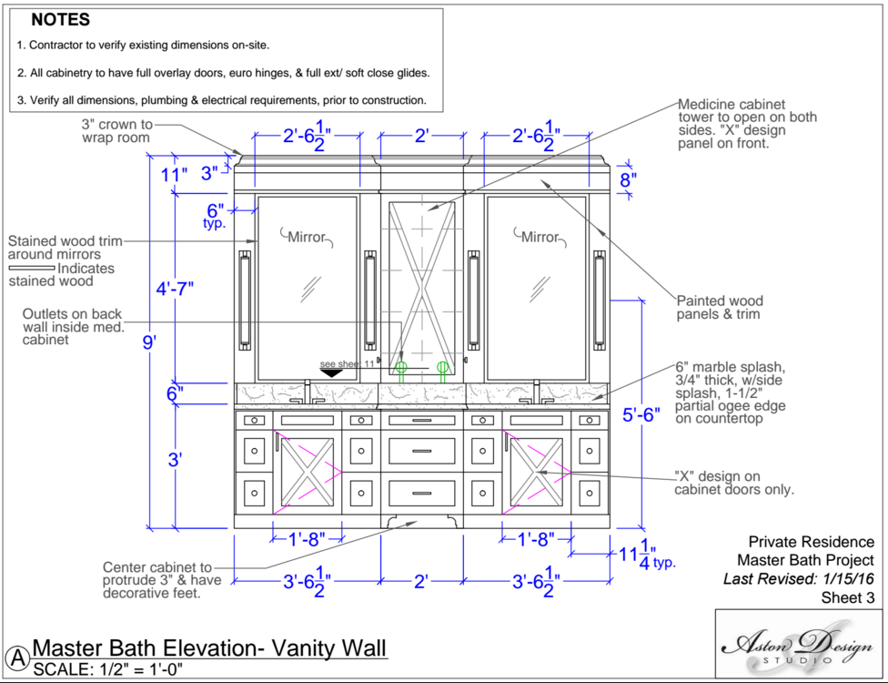 Master Bath Elevation: Vanity Wall | Interior Designer: Carla Aston