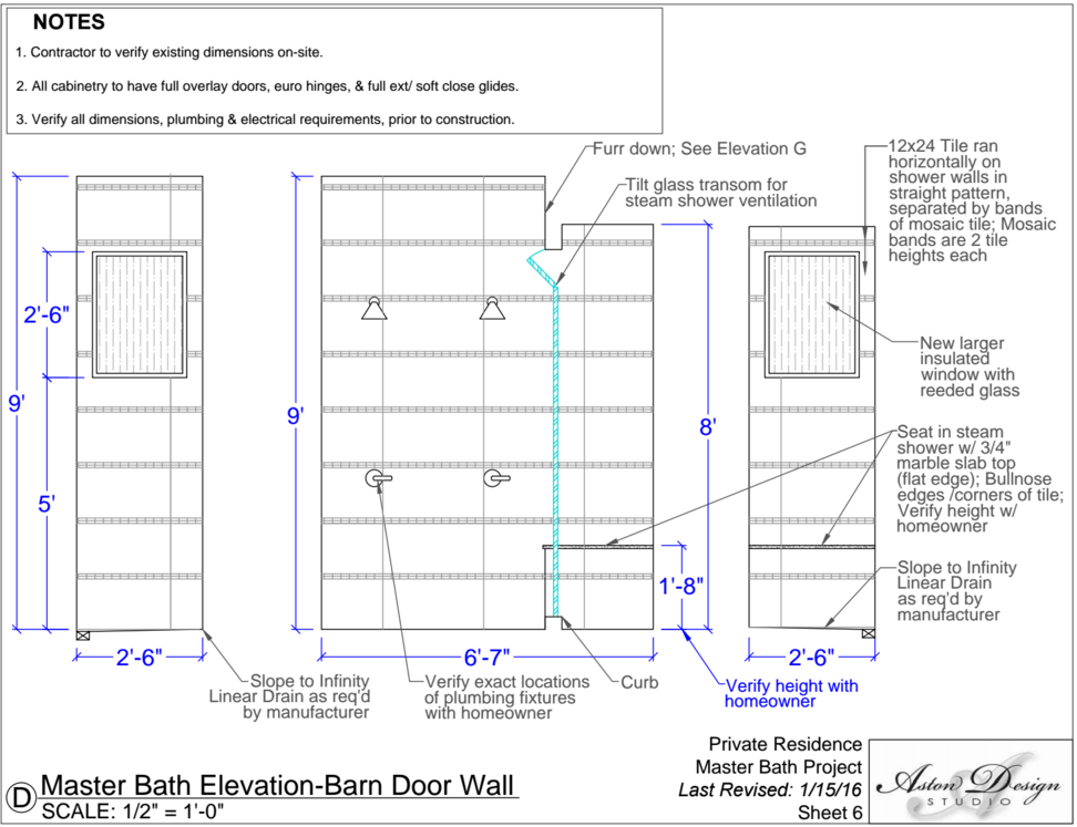 master bath elevation-barn door wall | Interior Designer: Carla Aston
