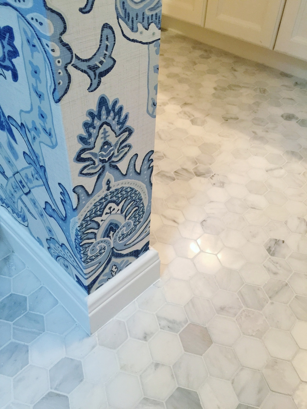 Marble hex tile floor | Interior designer: Carla Aston