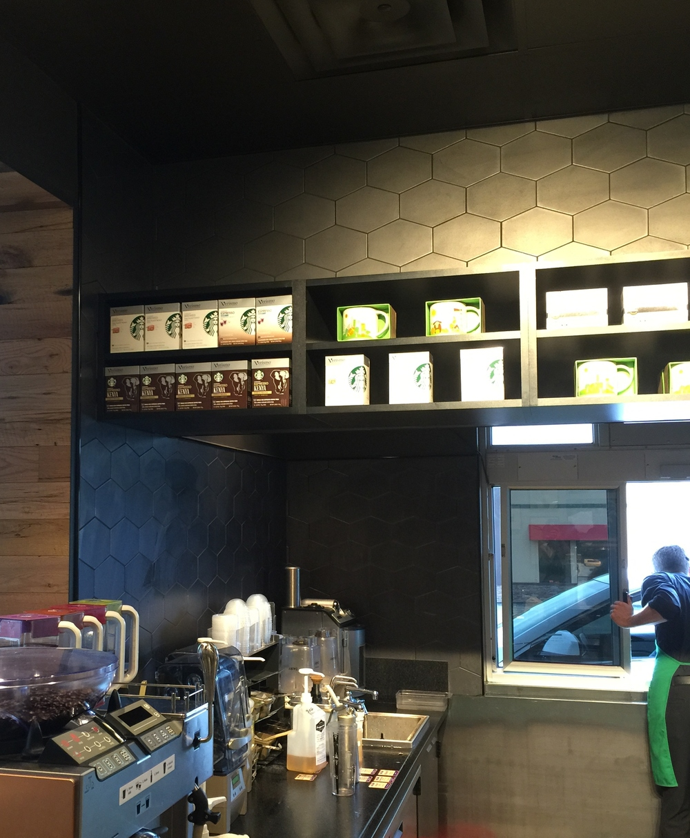 Hex or beehive tiles at Starbucks