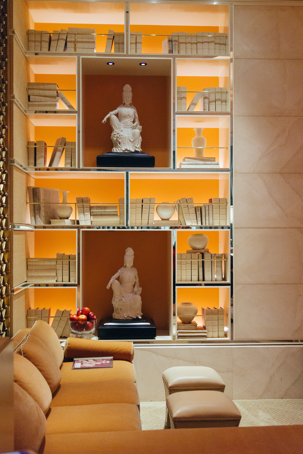 Wynn Hotel, spa, bookshelf, bookcase styling, backlit bookshelving | Photographer: Tori Aston