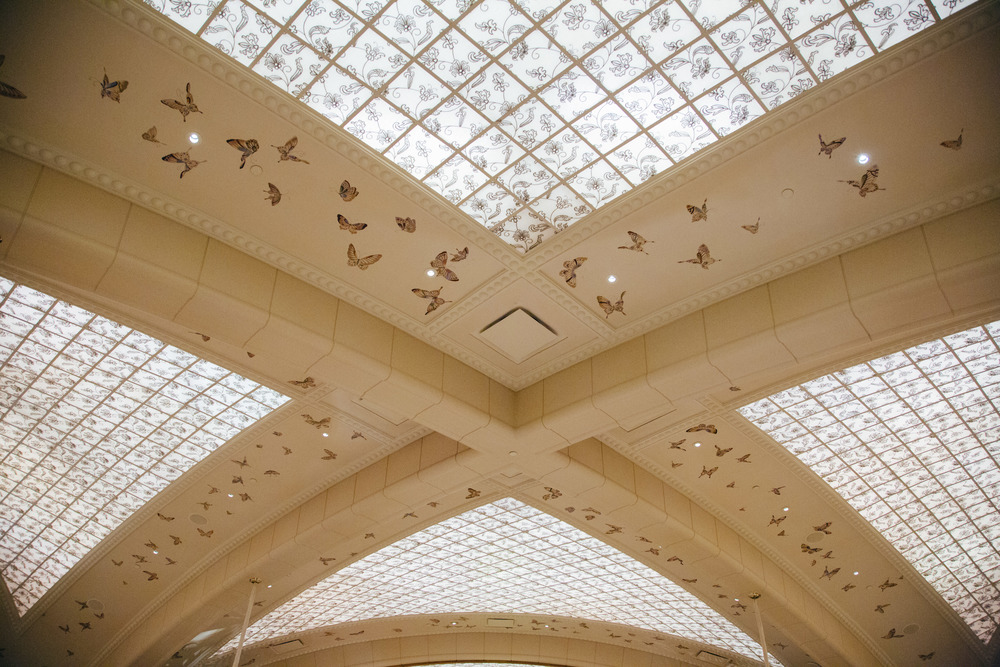 Wynn Hotel's spa, ceiling design, handpainted ceiling | Photographer: Tori Aston
