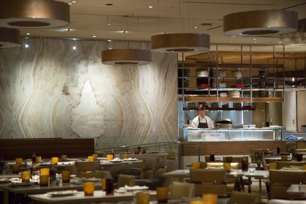 Wynn Hotel restaurant, Andrea's, marble slab wall, exotic stone  | Photographer: Tori Aston
