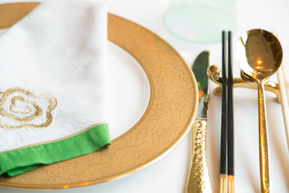 Wing Lei restaurant, tabletop, table setting, brass, gold | Photographer: Tori Aston