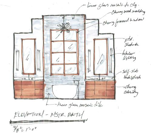 Contemporary master bath | Sketch by interior designer Carla Aston