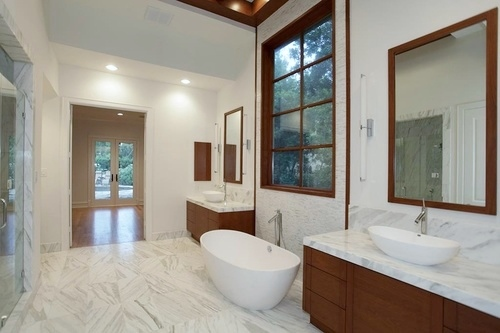 Simple After Contemporary Bathroom looking into bedroom Interior Designer Carla Aston