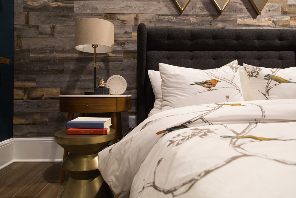 Bedroom styling, Stikwood wall, upholstered headboard | Interior Designer: Bobby Berk