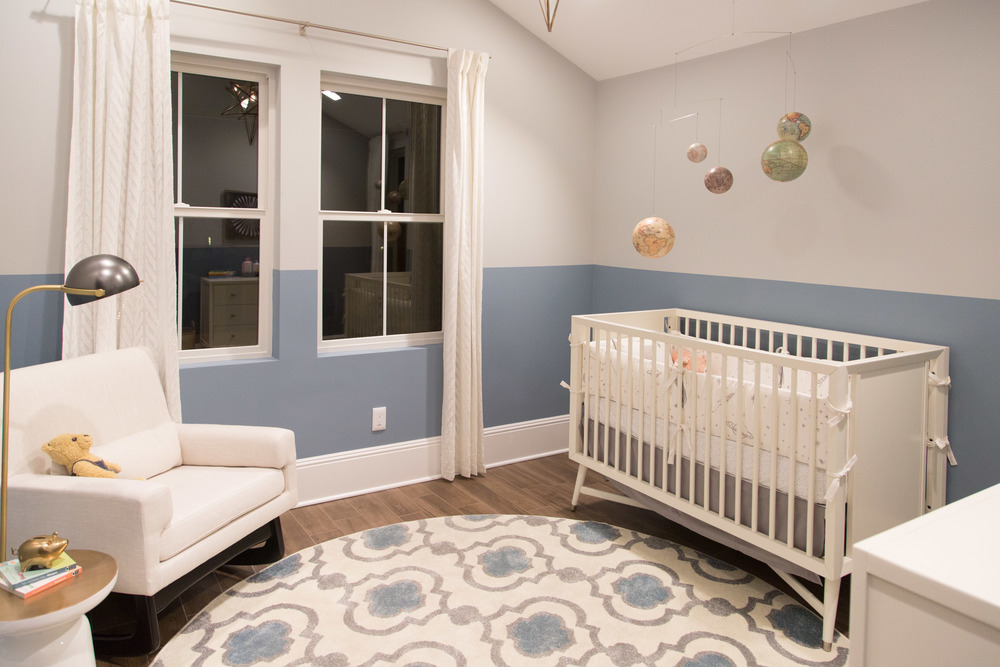 Nursery, blue and white, modern nursery | Interior Designer: Bobby Berk