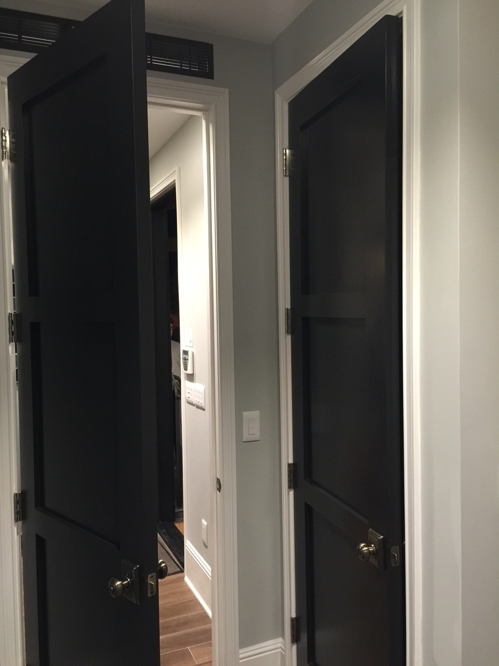 Suite | Black interior doors - Responsive Home | Interior Designer: Bobby Berk