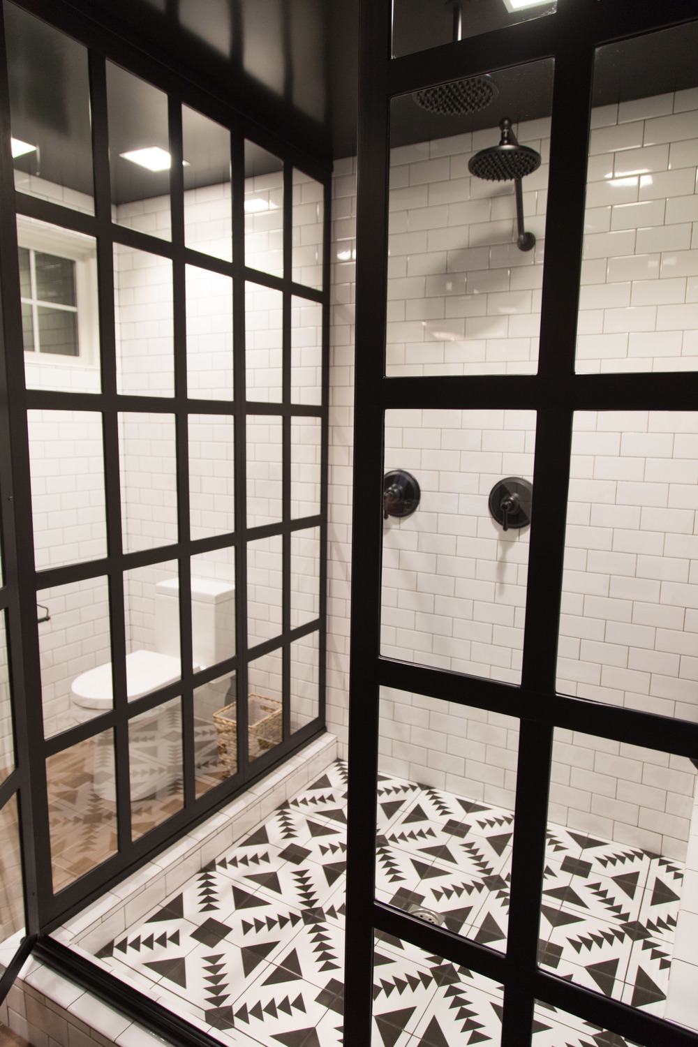 Master Bath Shower, graphic tile - Responsive Home | Interior Designer: Bobby Berk