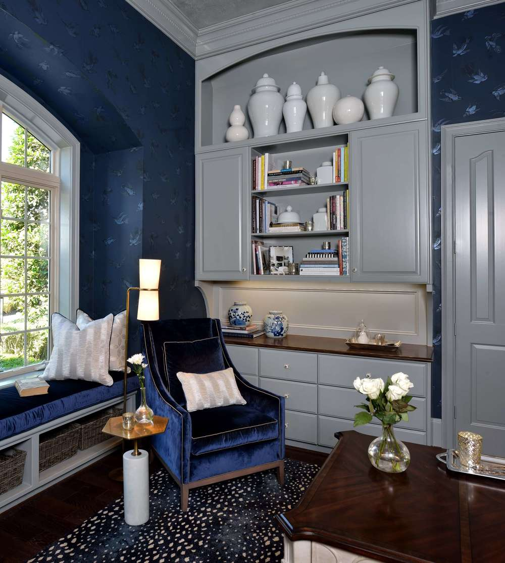 Feminine Home Office - Navy and gray color scheme