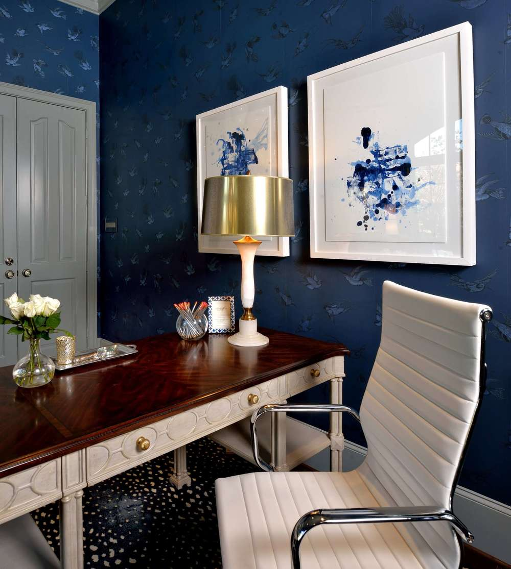 Feminine Home Office - Navy and gray color scheme, white leather office chair, alabaster and brass lamp, Designer: Carla Aston