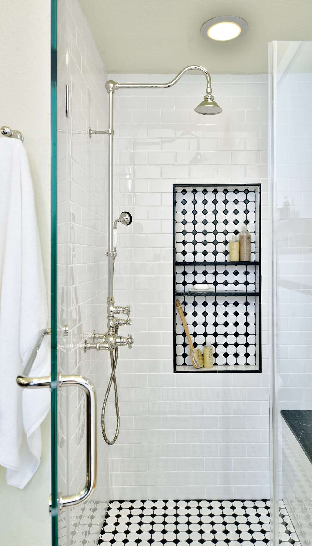 Vintage tile in shower with shampoo niche, Designer: Carla Aston