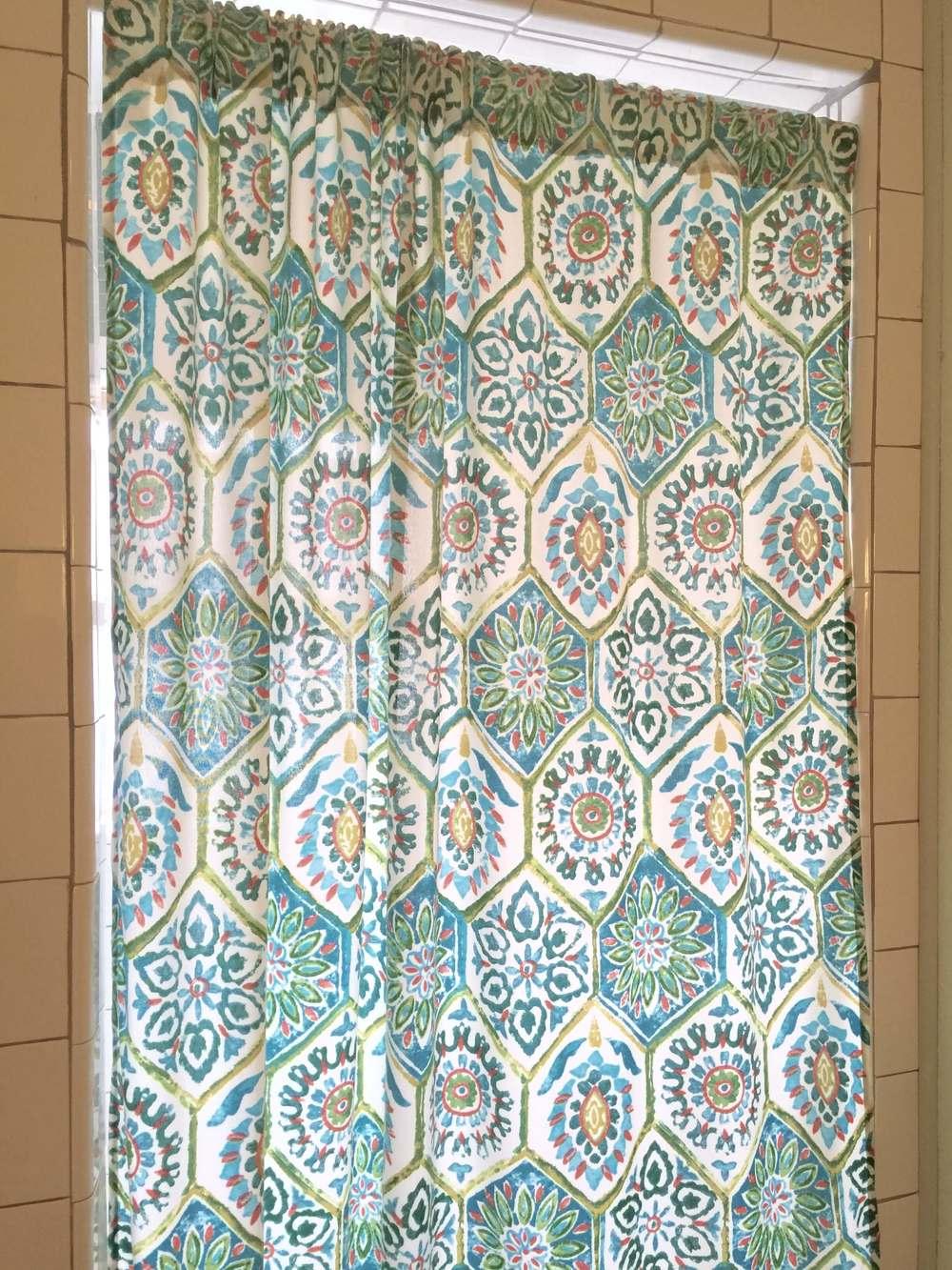 Bathroom - Shower curtain is a shortened outdoor curtain.