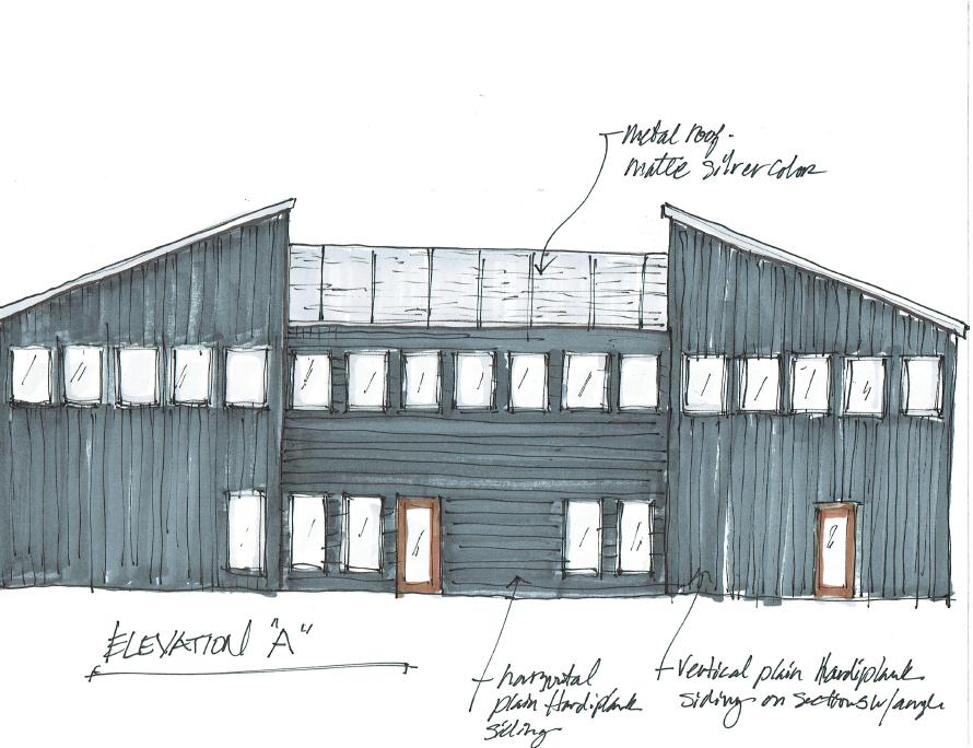 Office building elevation   Drawing by interior designer Carla Aston