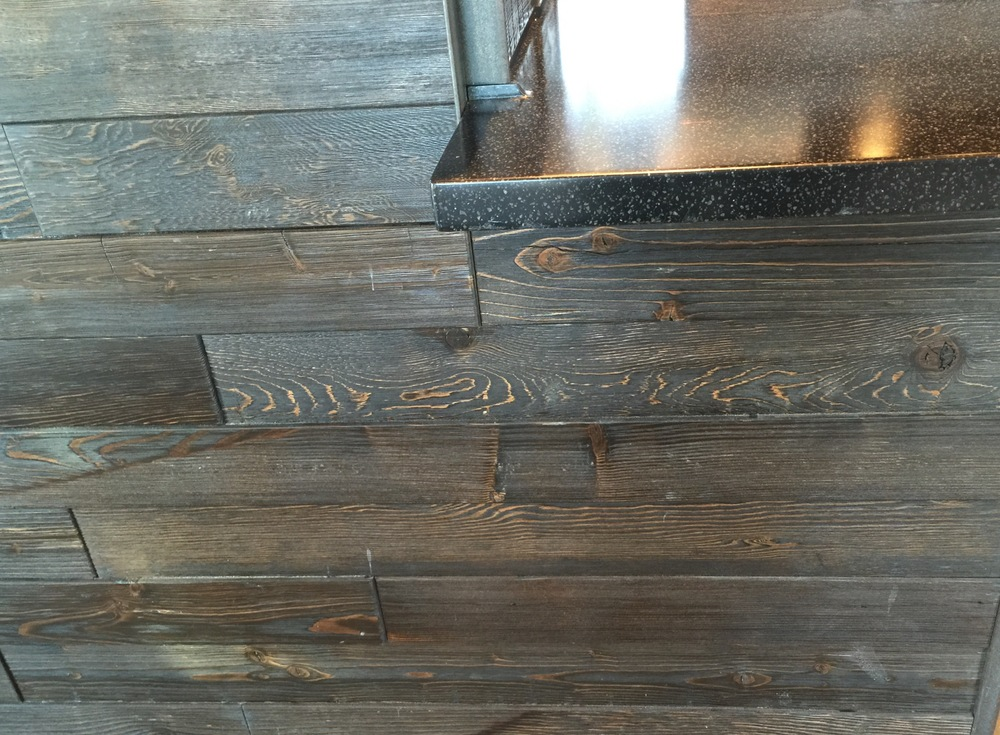 Charred wood cladding @ Starbucks