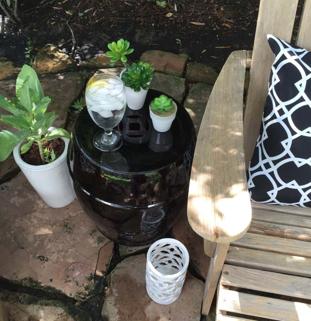 Black garden stool