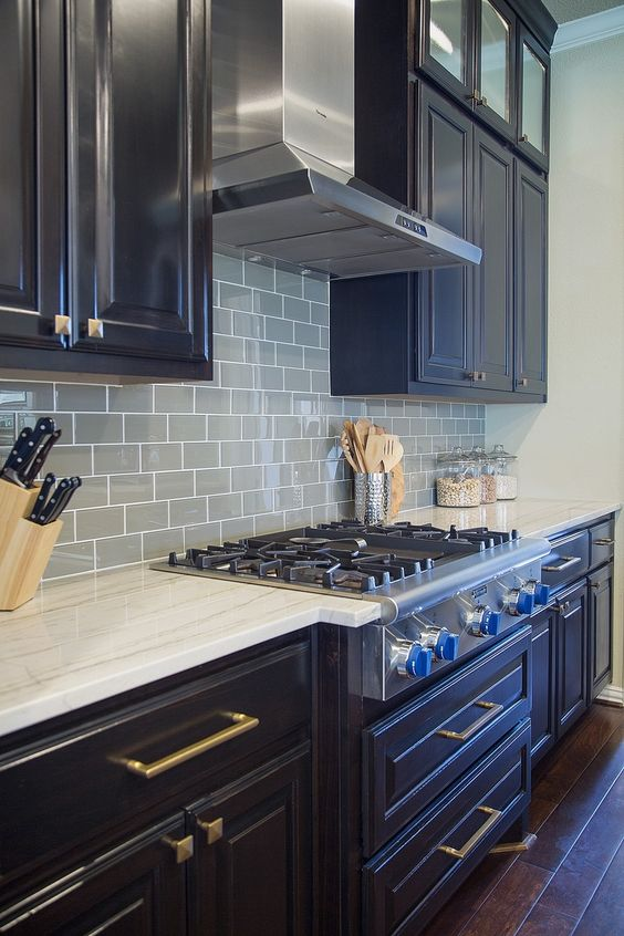 Kitchen Remodel - glass tile backsplash | Interior Designer: Carla Aston