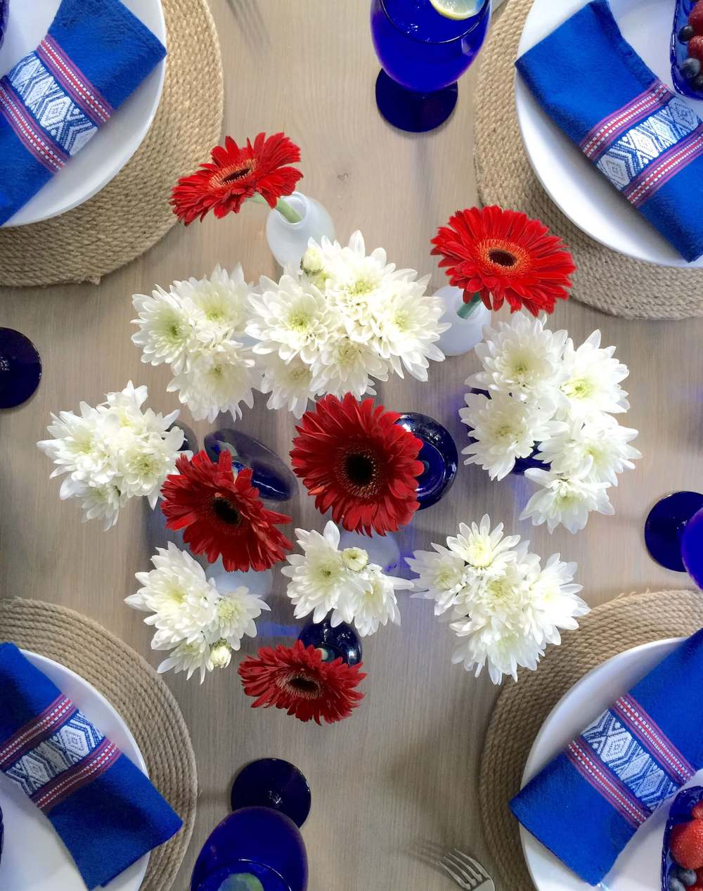 July 4th centerpiece, red, white and blue tabletop