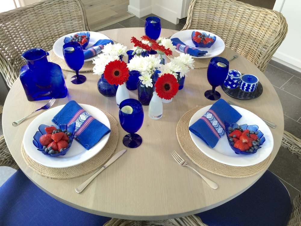 July 4th table decor, tabletop, red, white, and blue entertaining