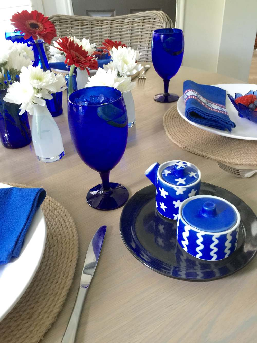 July 4th tabletop, red, white, and blue table setting