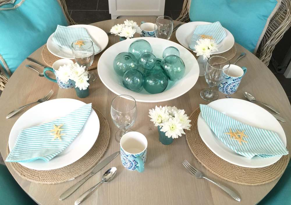 Coastal tabletop, beach inspired entertaining, turquoise & white | Interior Designer: Carla Aston