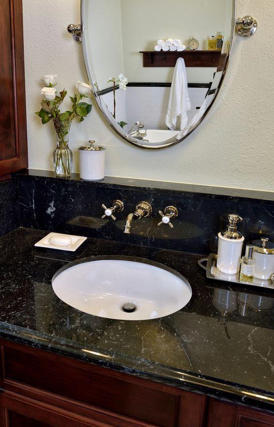 10 Of My Best Bathroom Design Tips! | Bathroom vanity with ledge or shelf at countertop, Designer: Carla Aston #bathroomdesign #bathroomvanity