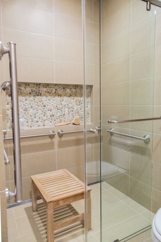 10 Of My Best Bathroom Design Tips! | Zero entry or curbless shower makes for easier access and grab bars are needed for safety | Designer: Carla Aston #bathroomdesign #zeroentryshower #curblessshower #bathroomshower #showerstall #grabbars #universaldesign