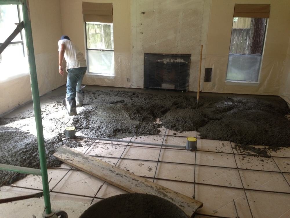 Sunken floor area being filled in