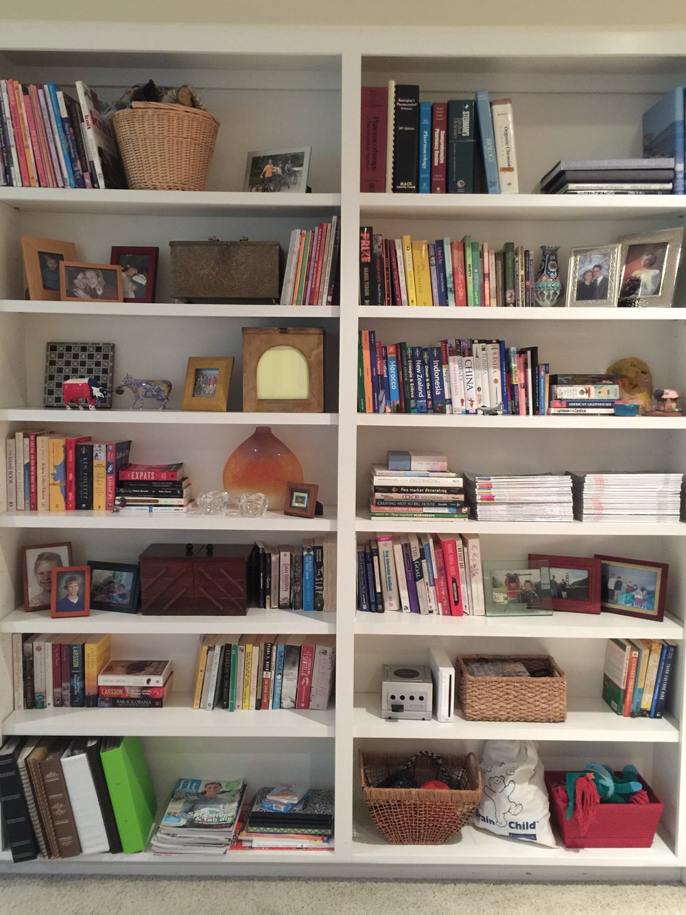 After - Bookshelf styling in library