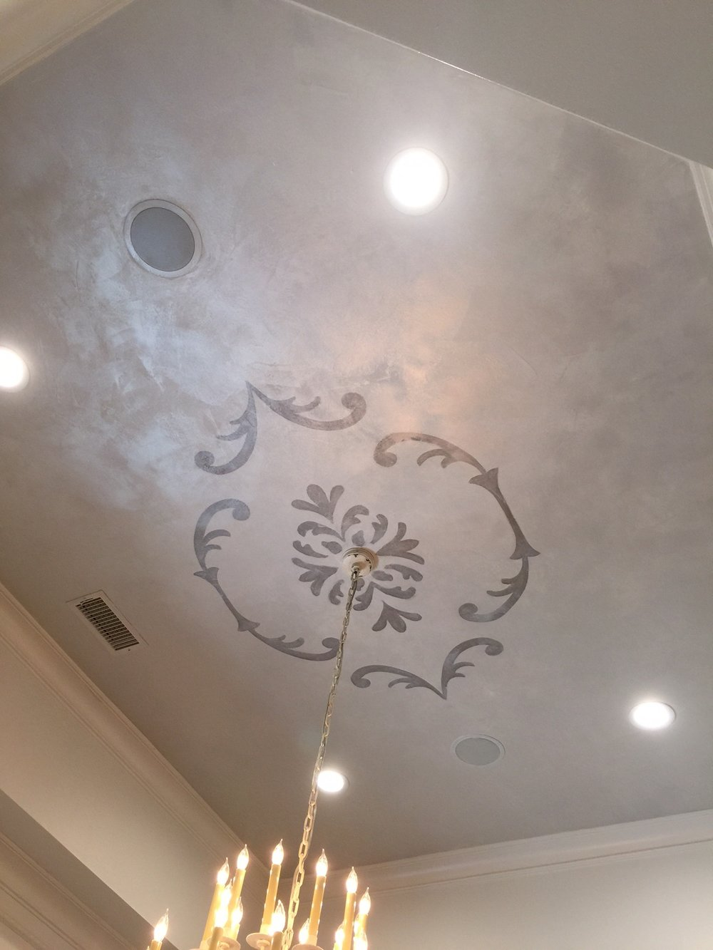 Dining Room Ceiling - silver painted finish by Transformations by Phyllis
