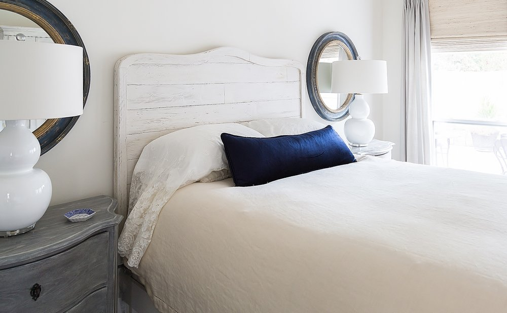 Navy and white master bedroom, Designer: Carla Aston