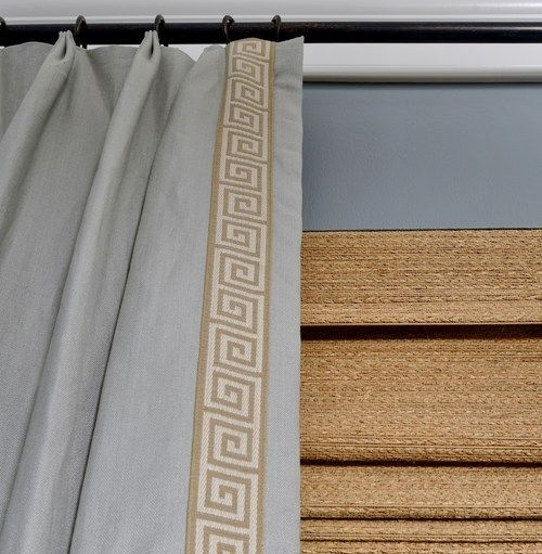 Greek key tape trim on leading edge of drapery panels