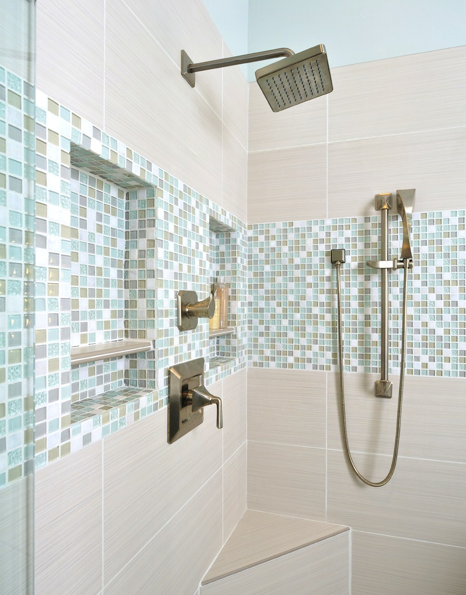Shampoo niches in bathroom remodel, Designer: Carla Aston
