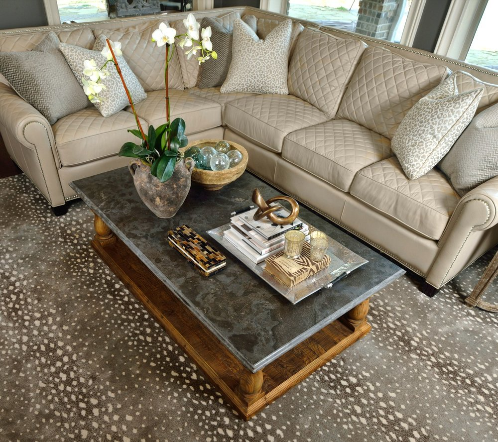 Neutral Sectional Sofa with Antelope Rug, Designer: Carla Aston | Photo by Miro Dvorscak