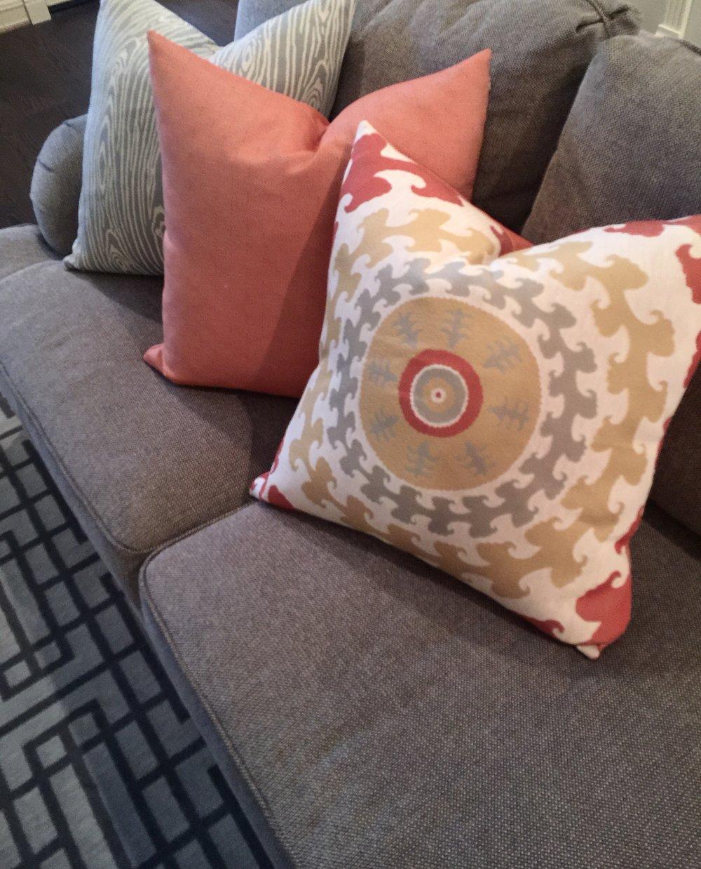 Coral and gray custom pillows - Designer: Carla Aston #pillows #sofapillows