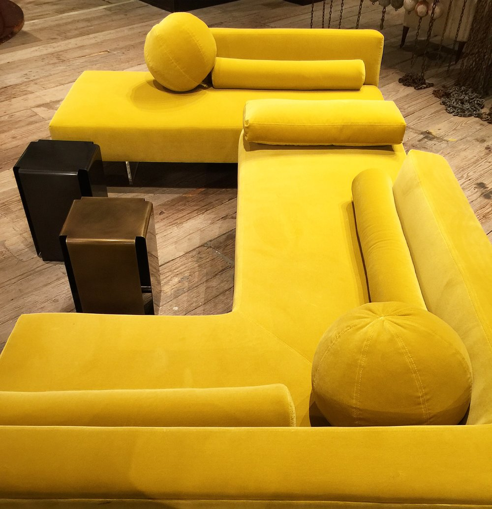 Velvet sectional sofa fit for a party