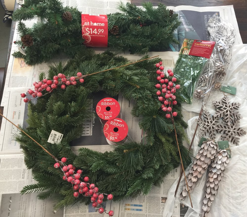 DIY Woodland Christmas Wreath - Supplies
