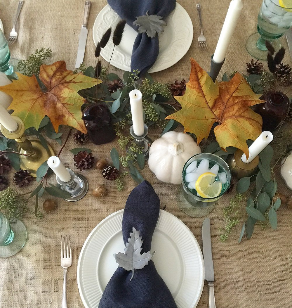 Thanksgiving / Fall decor tabletop w/ burlap, creamware, and a mix of pewter and brass candlesticks