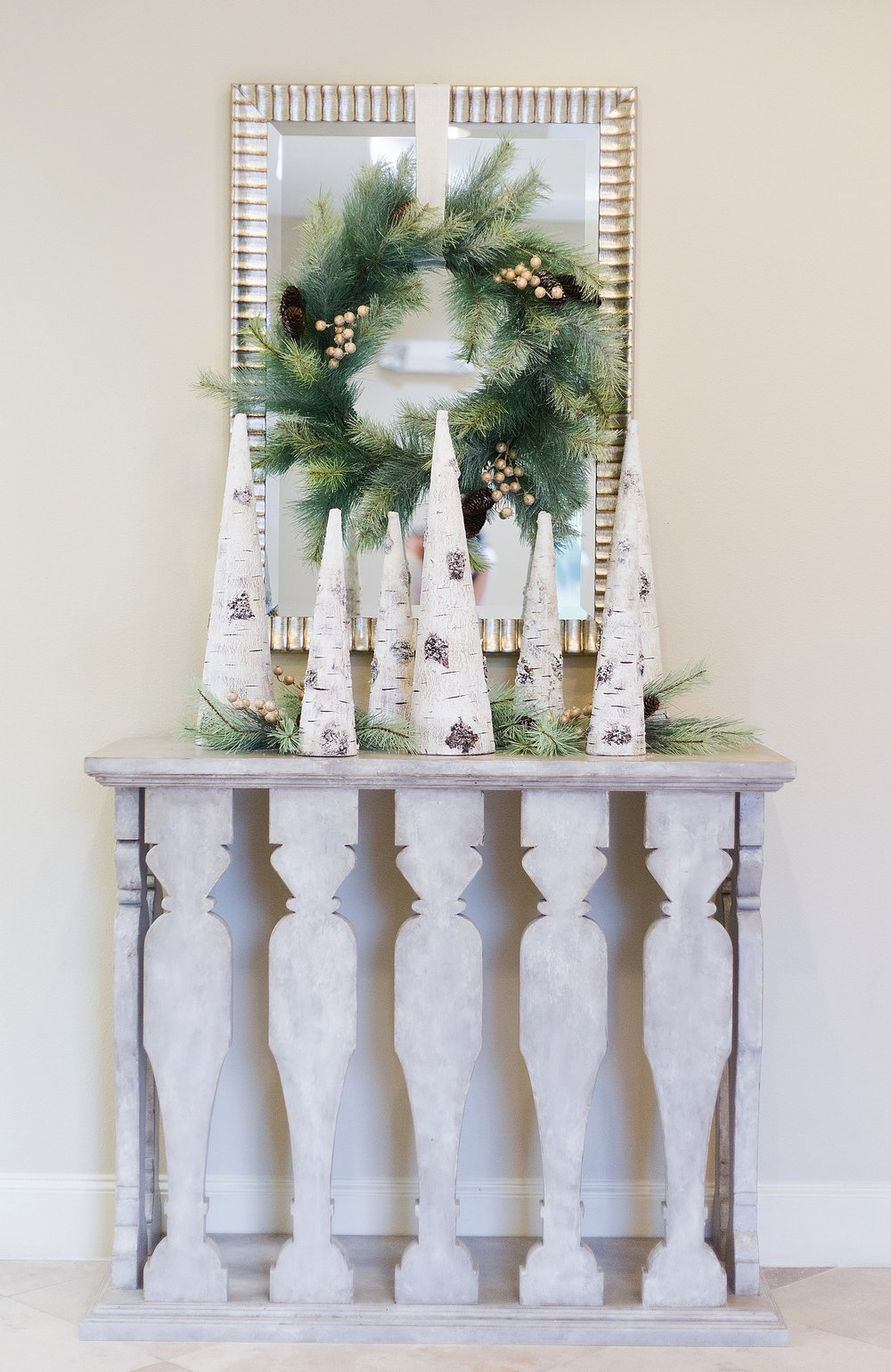Christmas Woodlands Holiday Decorating - console decor with wreath on mirror / Designed w/ Carla Aston