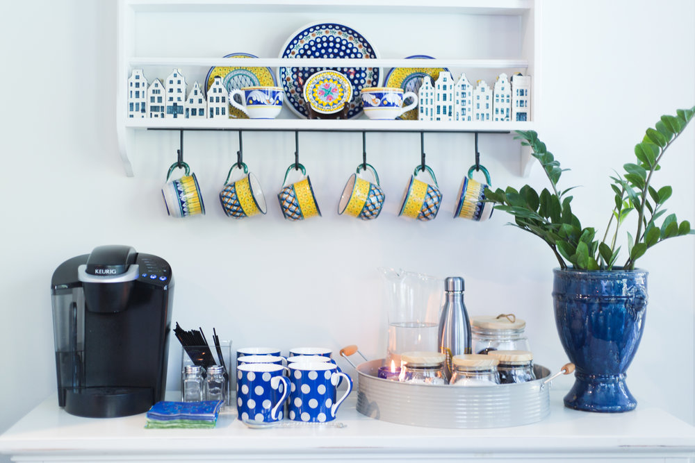 Coffee bar station with tray, blue cups and containers from At Home stores / Designed w/Carla Aston