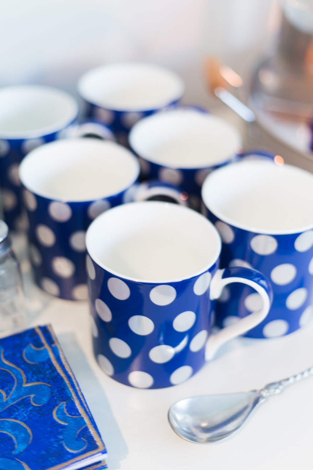Coffee bar station - blue mugs from At Home stores