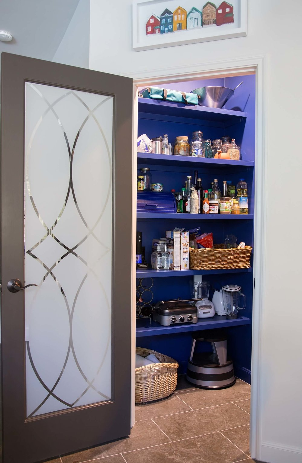 New indigo blue pantry w/ etched glass look French door - pattern done in window film, Before and after kitchen remodel, Carla Aston - Designer