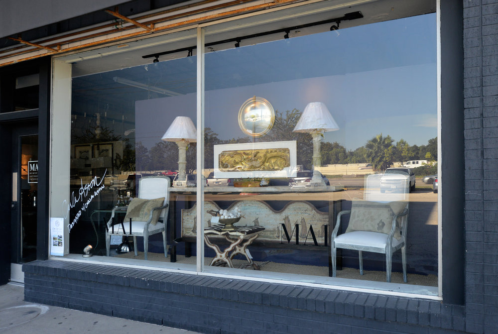 Benjamin Moore 2017 Color of the Year, Shadow, used as backdrop for window display