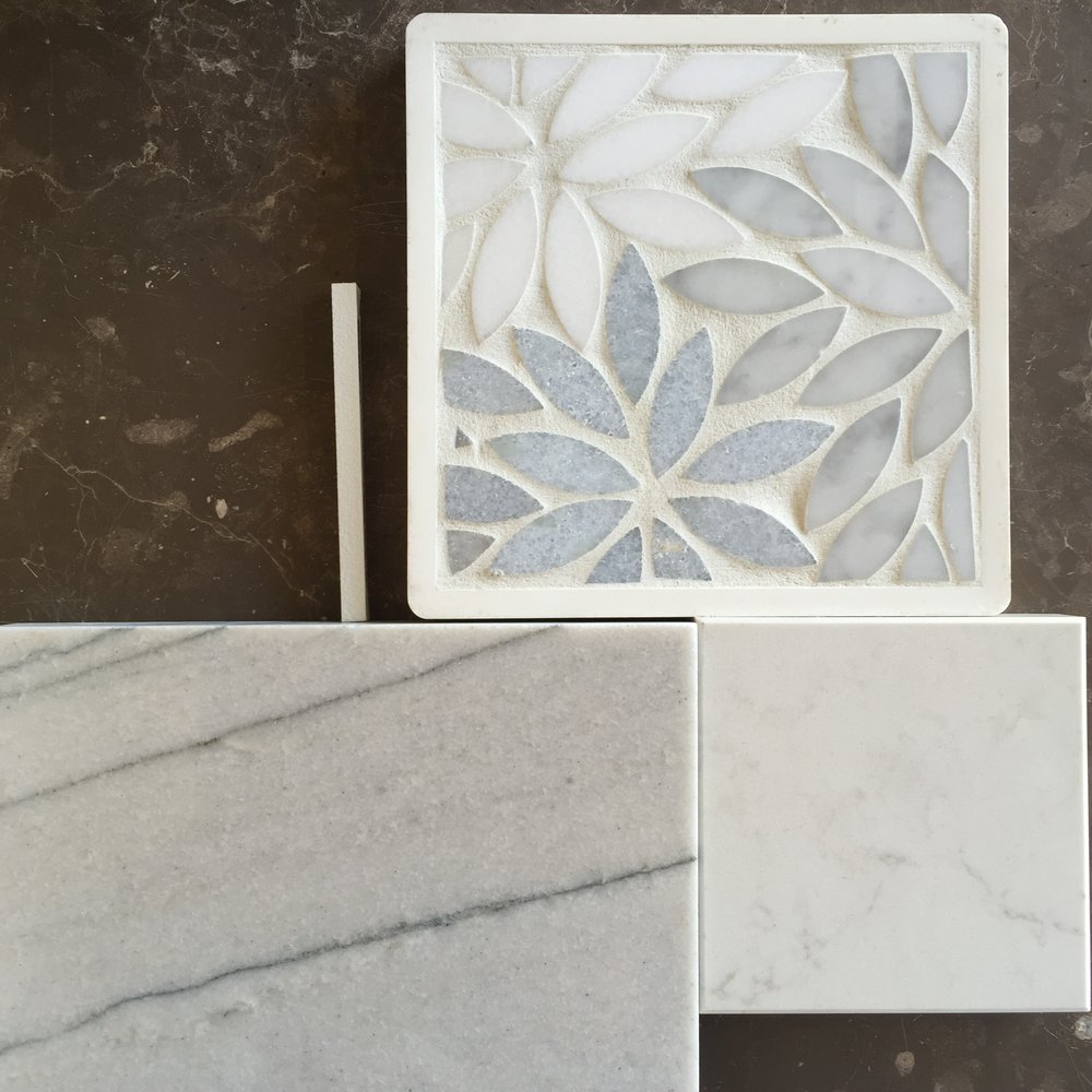 Mosaic tile sample with countertop materials