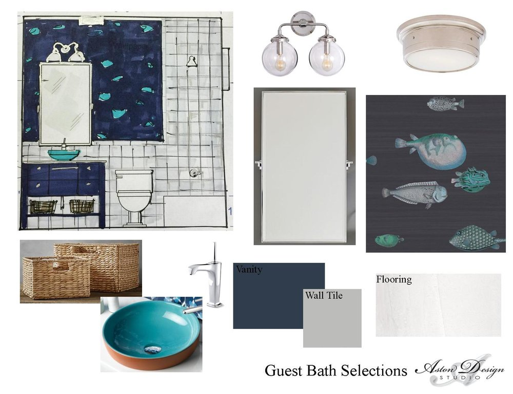 Our design storyboard for the guest bath.