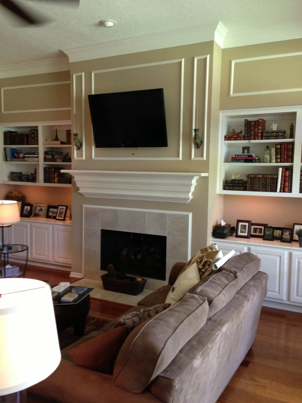 Before  - fireplace wall remodel w / tv mounted above