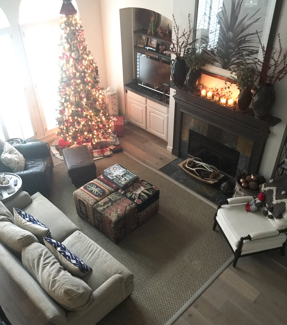 Christmas decor - two story space looking down at furniture arrangement.jpg